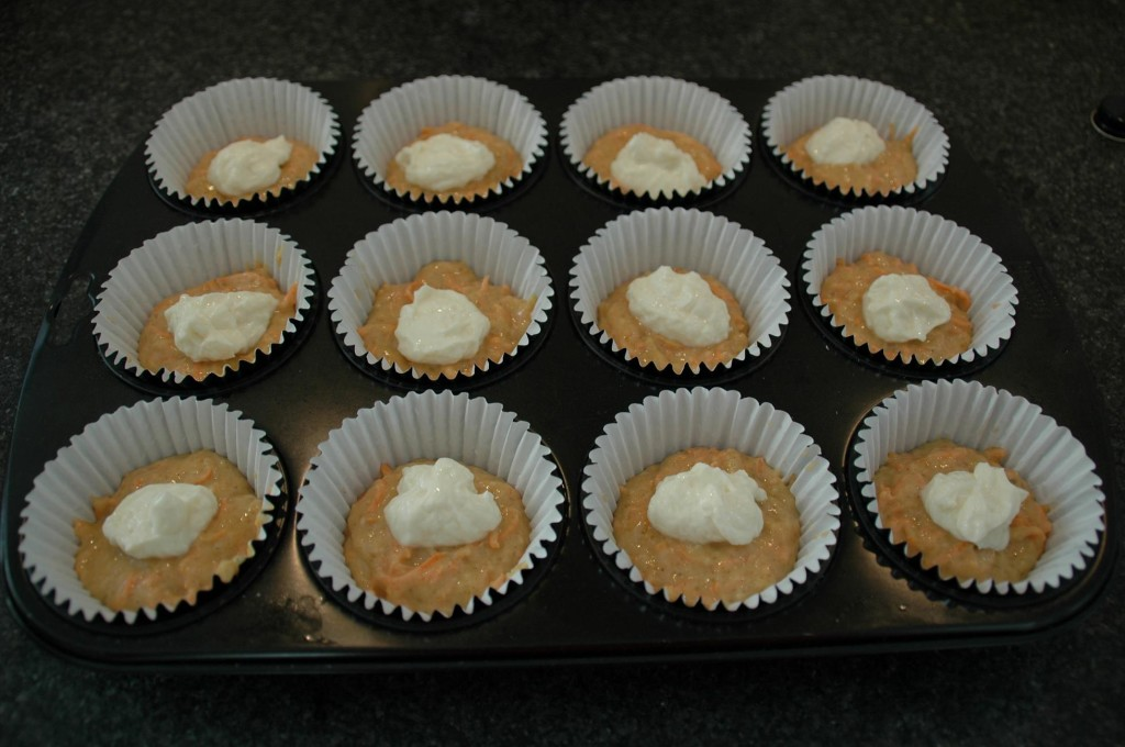 Fill with the cream cheese batter..like this