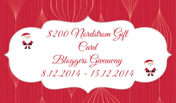 $ 200 Nordstrom Gift Card Bloggers Giveaway!