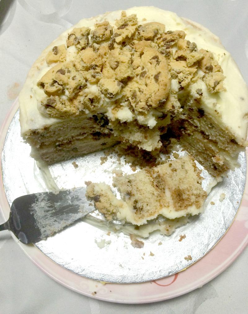 cookie cake eaten half