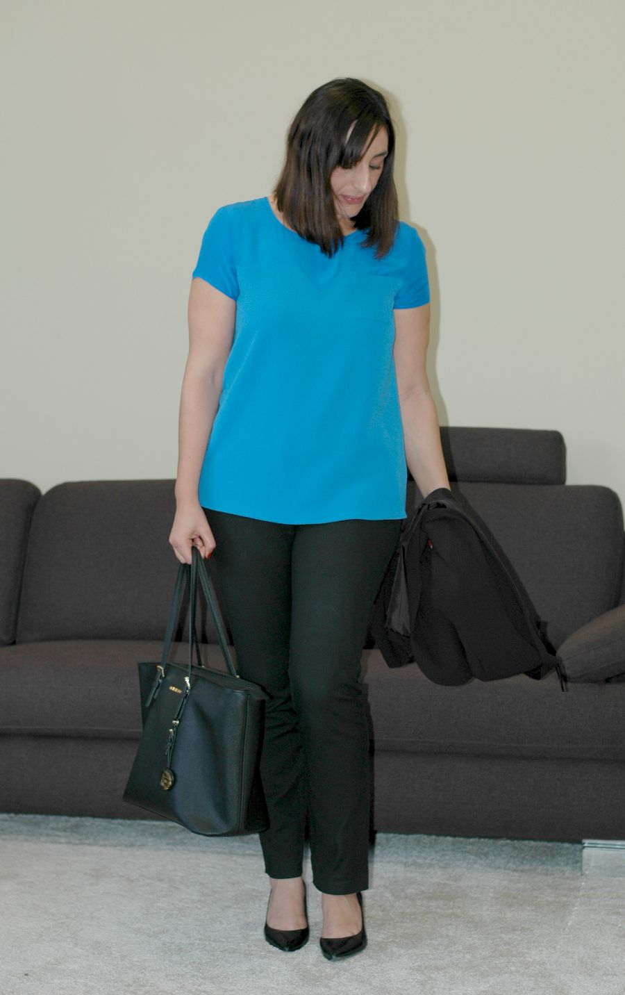 Office wear with royal blue top 3